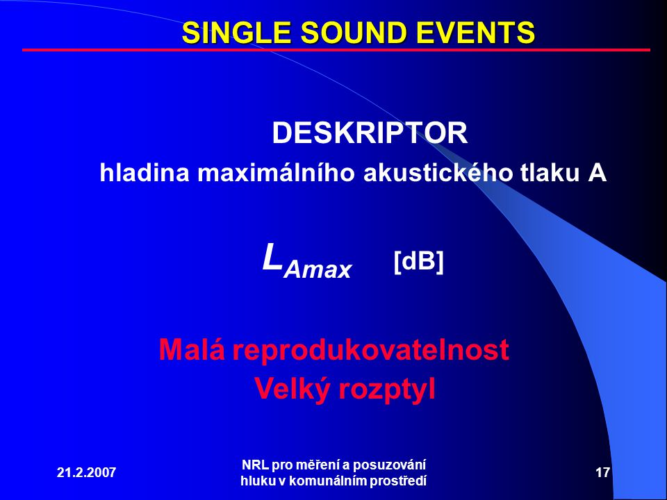 LAmax [dB] SINGLE SOUND EVENTS DESKRIPTOR Malá reprodukovatelnost